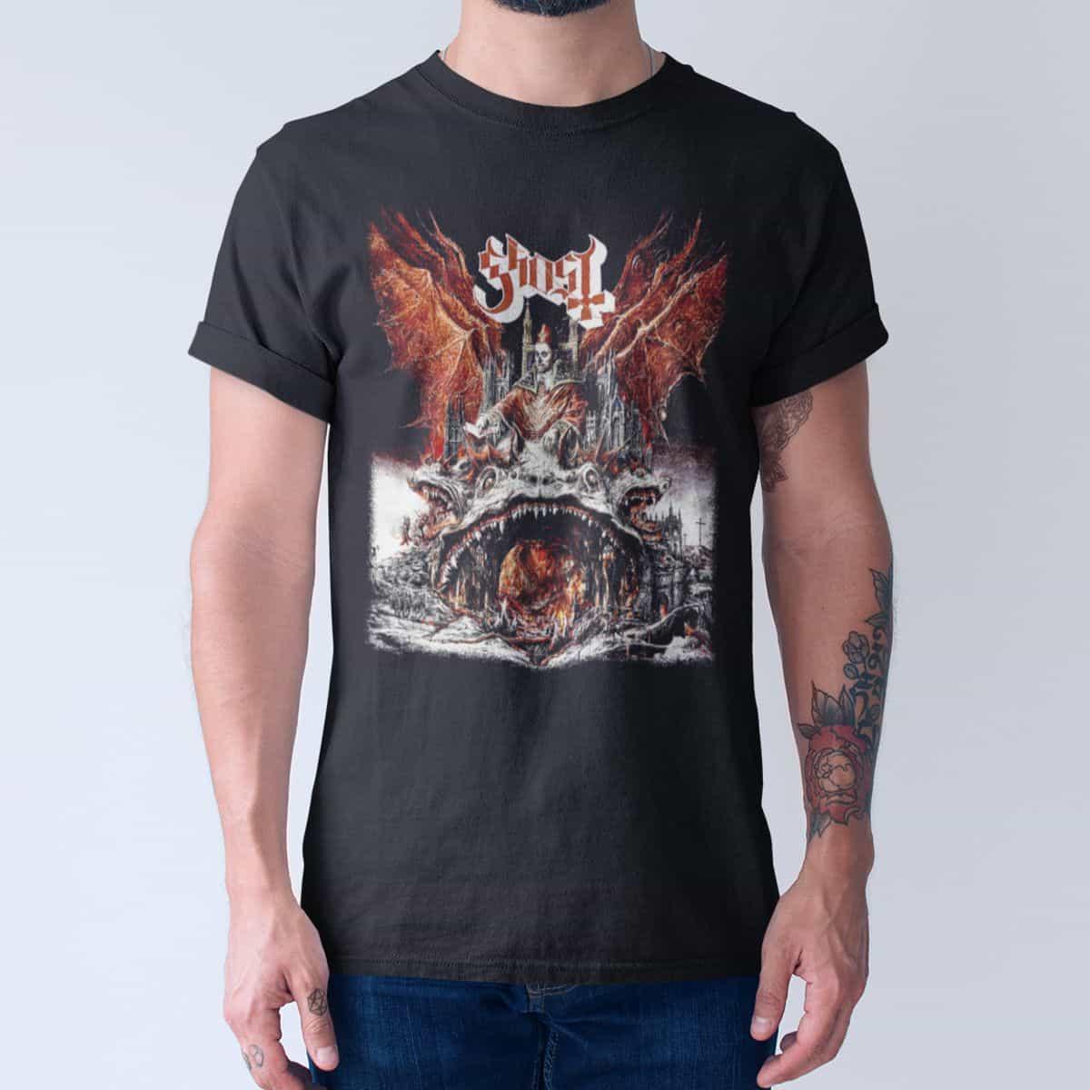 d182ba038245 Ghost Band T-Shirt, Ghost Prequelle Cover Tee-Shirt, Hard Rock, Heavy Metal  Merch – Metal Band T-Shirt   Metal Band Tee Shirts