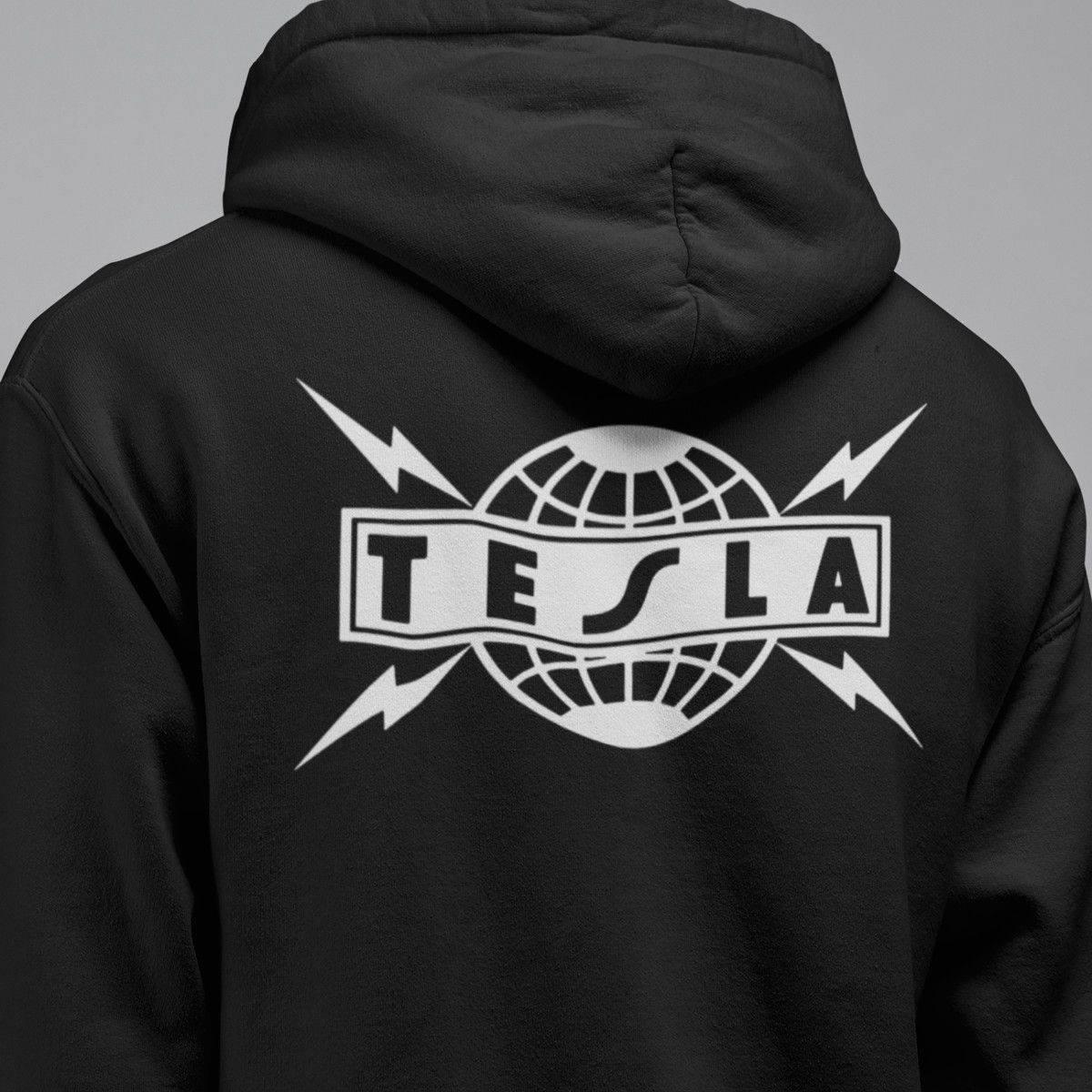 Tesla Band Hoodie, Tesla Logo Hooded Sweatshirt, Blues, Hard Rock, Heavy  Metal Merch