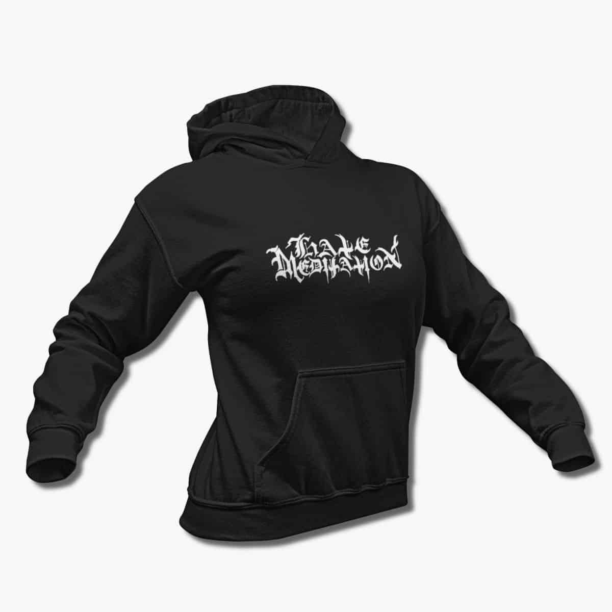 hate meditation band hoodie hate meditation logo black hooded sweatshirt black metal merchandise metal band t shirt metal band tee shirts metal band t shirt